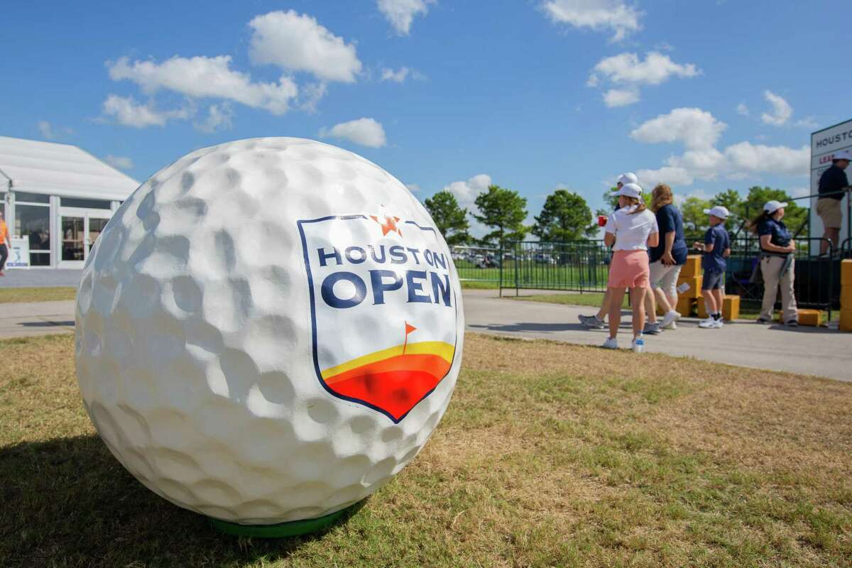 Giant golf ball on display at the entrance during the Houston Open, First Round at the Golf Club of Houston on Thursday, October 10, 2019 in Humble, Texas. (Juan DeLeon/Contributor)