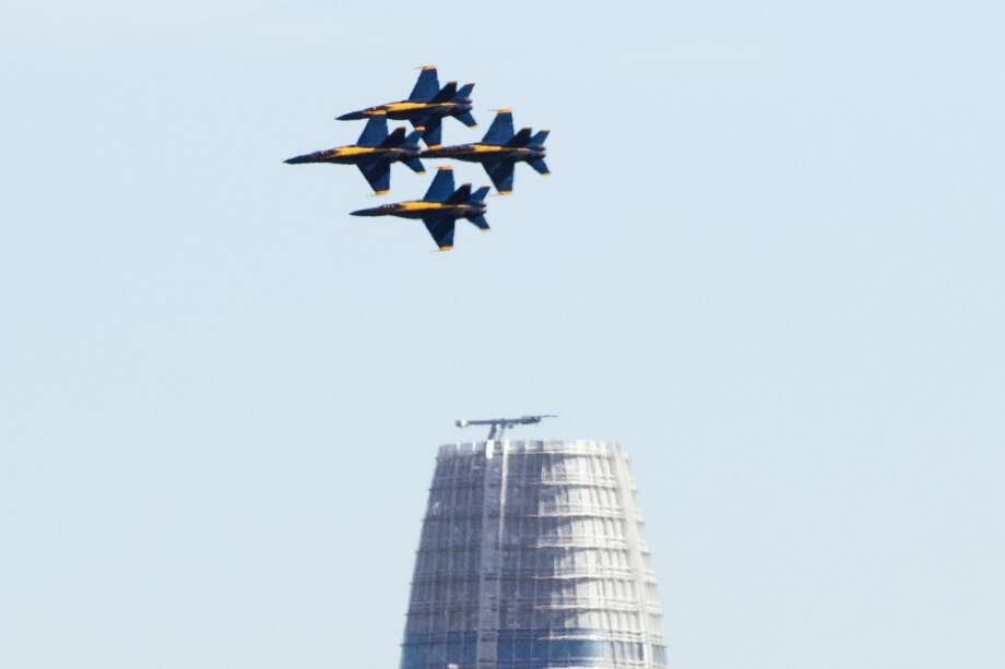 The Blue Angels fly near the Salesforce Tower while  practicing for their SF Fleet Week performance over the San Francisco Bay Area on October 10, 2019. Photo: Douglas Zimmerman/SFGate.com