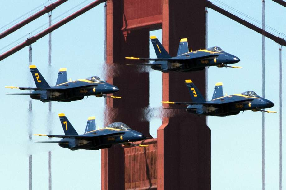 The Blue Angels flying squadron flies in front of the Golden Gate Bridge while practicing for their SF Fleet Week performance over the San Francisco Bay Area on October 10, 2019. Photo: Douglas Zimmerman/SFGate.com