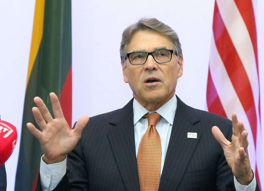 (FILES) In this file photo taken on October 6, 2019 US Secretary of Energy Rick Perry delivers a statement after signing an agreement with Estonian, Lithuanian and Latvian counterparts on strengthening energy cooperation between the US and the Baltic States during a meeting in Vilnius, Lithuania. - House Democrats conducting an impeachment inquiry into President Donald Trump for abuse of power issued a subpoena for documents on October 10, 2019 to his Energy Secretary Rick Perry. (Photo by Petras Malukas / AFP) (Photo by PETRAS MALUKAS/AFP via Getty Images) Photo: Petras Malukas, AFP Via Getty Images