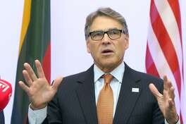 (FILES) In this file photo taken on October 6, 2019 US Secretary of Energy Rick Perry delivers a statement after signing an agreement with Estonian, Lithuanian and Latvian counterparts on strengthening energy cooperation between the US and the Baltic States during a meeting in Vilnius, Lithuania. - House Democrats conducting an impeachment inquiry into President Donald Trump for abuse of power issued a subpoena for documents on October 10, 2019 to his Energy Secretary Rick Perry. (Photo by Petras Malukas / AFP) (Photo by PETRAS MALUKAS/AFP via Getty Images)