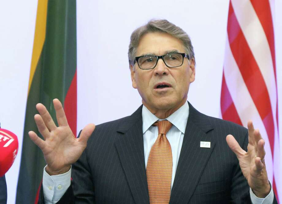 (FILES) In this file photo taken on October 6, 2019 US Secretary of Energy Rick Perry delivers a statement after signing an agreement with Estonian, Lithuanian and Latvian counterparts on strengthening energy cooperation between the US and the Baltic States during a meeting in Vilnius, Lithuania. - House Democrats conducting an impeachment inquiry into President Donald Trump for abuse of power issued a subpoena for documents on October 10, 2019 to his Energy Secretary Rick Perry. (Photo by Petras Malukas / AFP) (Photo by PETRAS MALUKAS/AFP via Getty Images) Photo: PETRAS MALUKAS, Contributor / AFP Via Getty Images / AFP or licensors