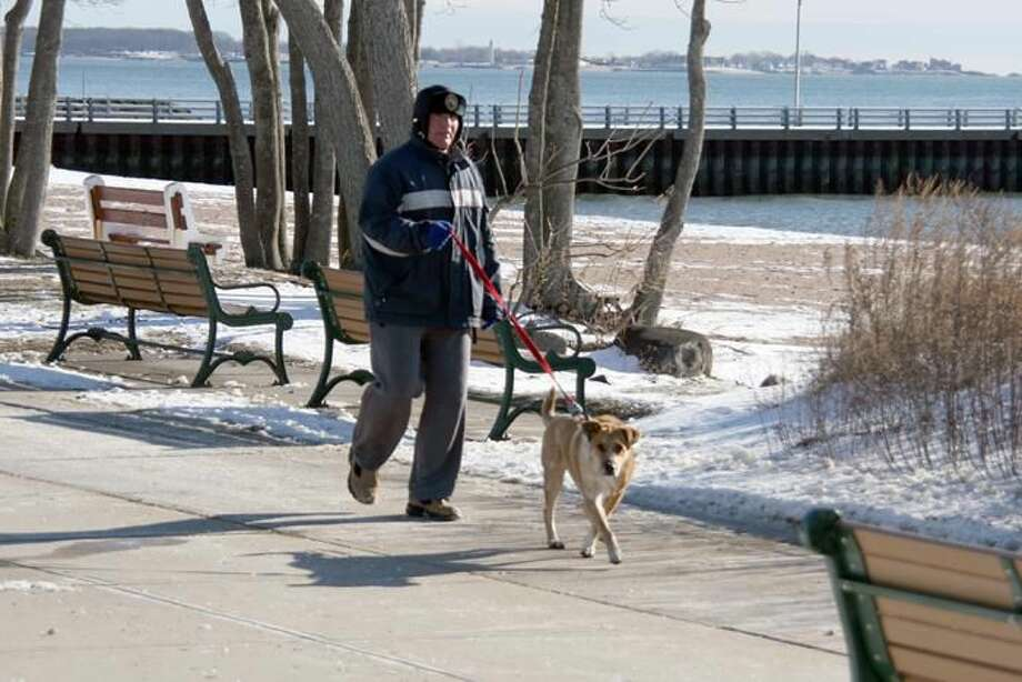 Photo by Bridget Albert - WEST HAVEN - Anthony Mazzonna and his canine pal Rudy brave the frigid temperatures for a walk along Savin Rock Boardwalk.
