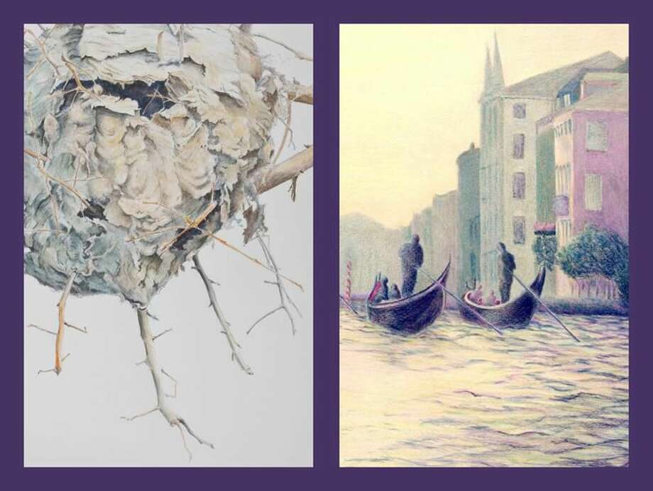 """Left, """"Paper Wasp Nest"""" by Elizabeth Hundt Scott. The framed artwork was painted in watercolor and the original size is 17"""" x 23"""". Right, """"Venice at Twilight"""" by Doris Havas Rogan painted in colored pencil and the original size is 12' x 17""""."""