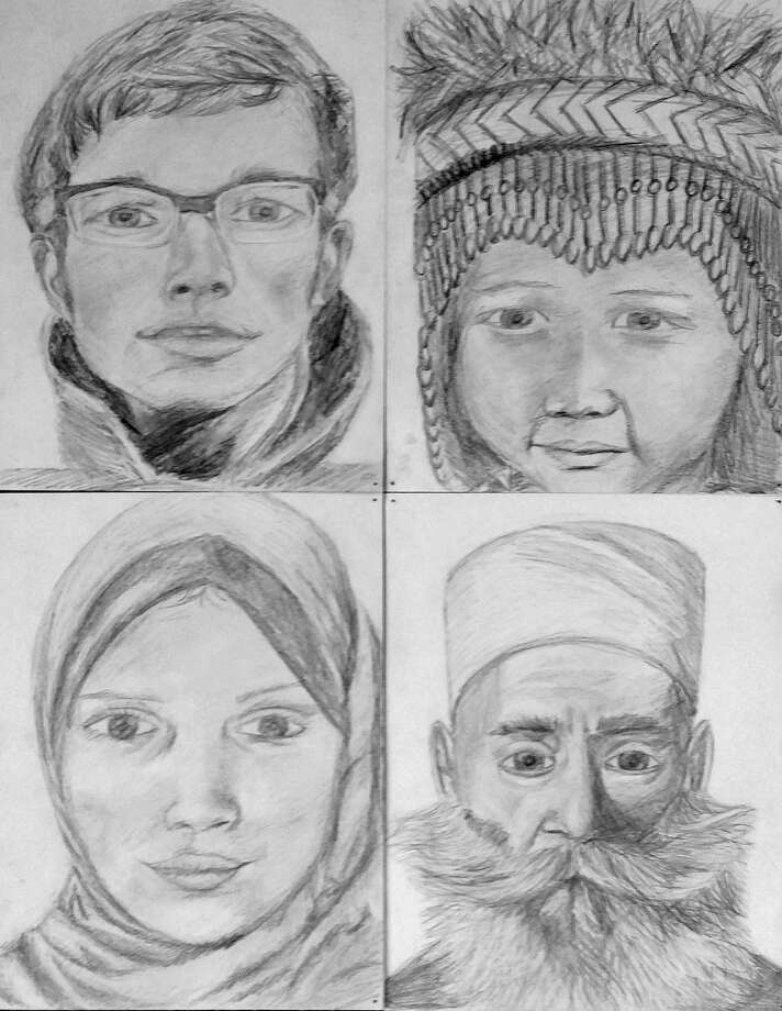 Submitted Photo A selection of four pencil drawings from the piece titled United Diversity.