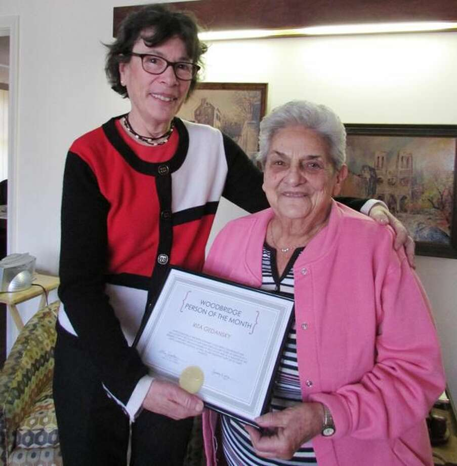 Submitted Photo First Selectman Ellen Scalettar presents Rita Gedansky with Woodbridge's Person of the Month certificate.