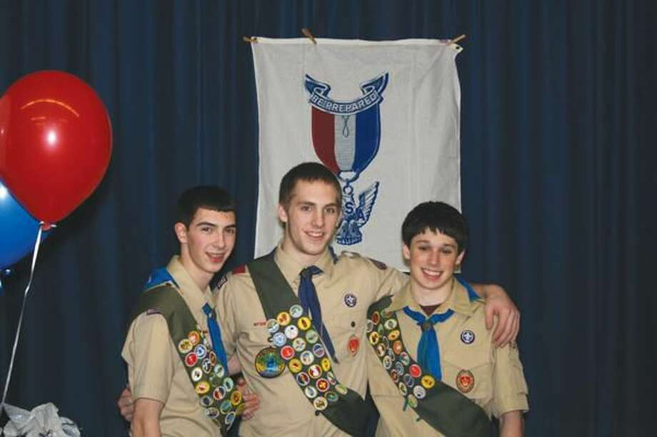 Submitted Photo Left to right are recently named Eagle Scouts Nicholas Monelli, Kevin Russell and Scott Dellatorre.