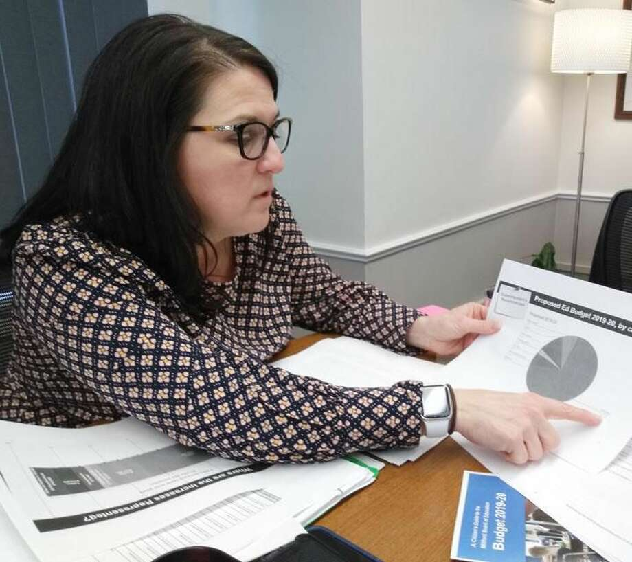School Supt. Dr. Anna Cutaia discusses her 2019-2020 budget proposal with local reporters Monday afternoon, Jan. 14.