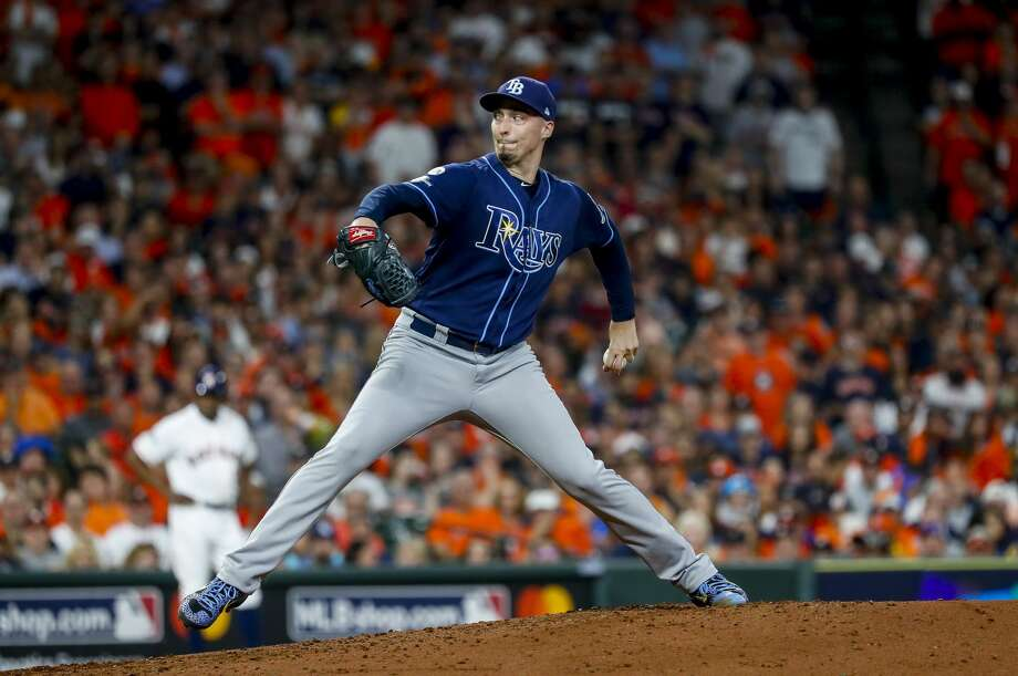 Tampa Bay Rays pitcher Blake Snell (4) takes over for starter Tyler Glasnow during the third inning of Game 5 of the American League Division Series at Minute Maid Park in Houston, on Thursday, Oct. 10, 2019. Photo: Karen Warren/Staff Photographer