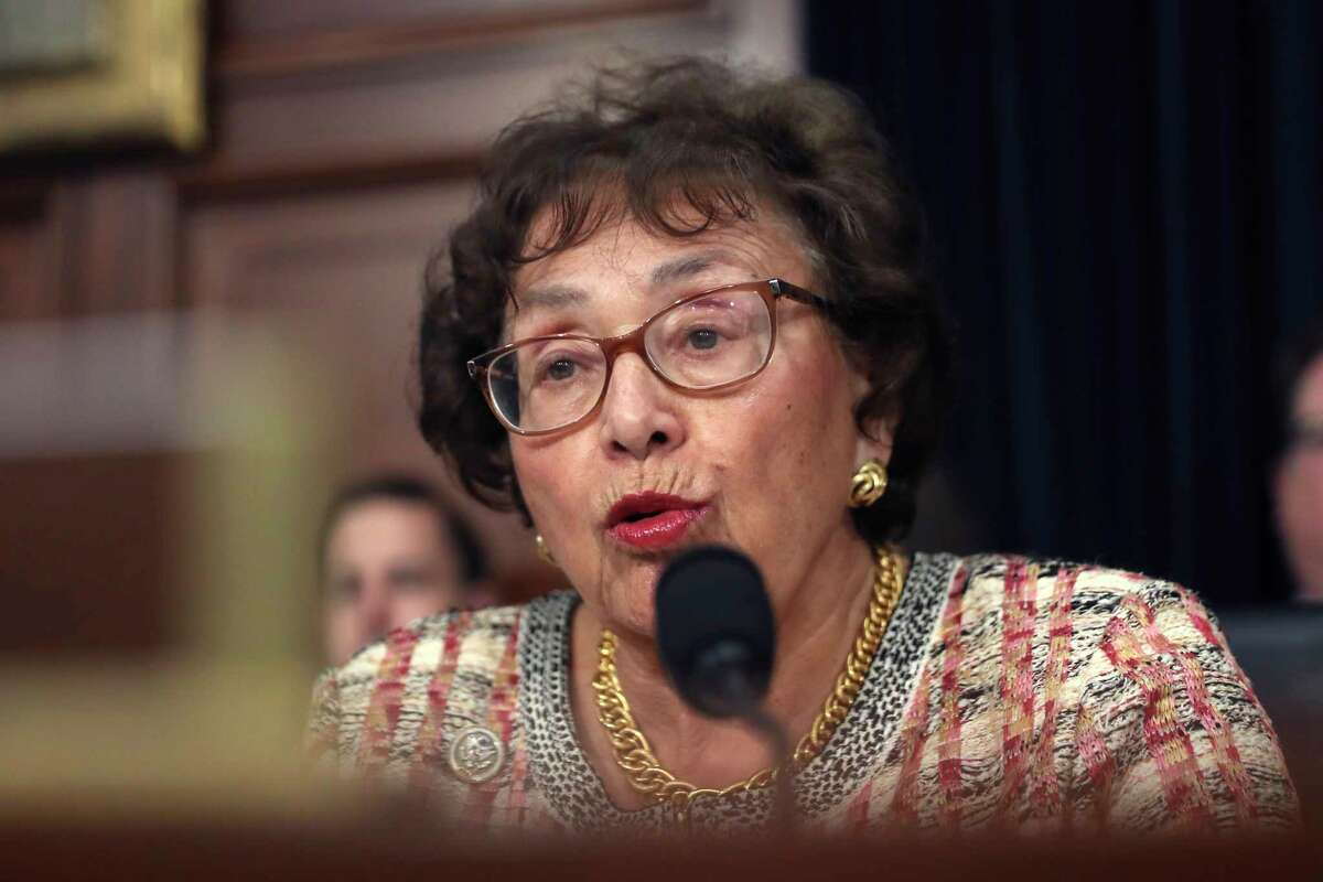 FILE - In this April 9, 2019, file photo, Rep. Nita Lowey, D-N.Y., speaks during a hearing on Capitol Hill in Washington. Lowey, the chairwoman of the House Appropriations Committee and a 31-year veteran of Congress, says she will retire at the end of next year. (AP Photo/Andrew Harnik, File)