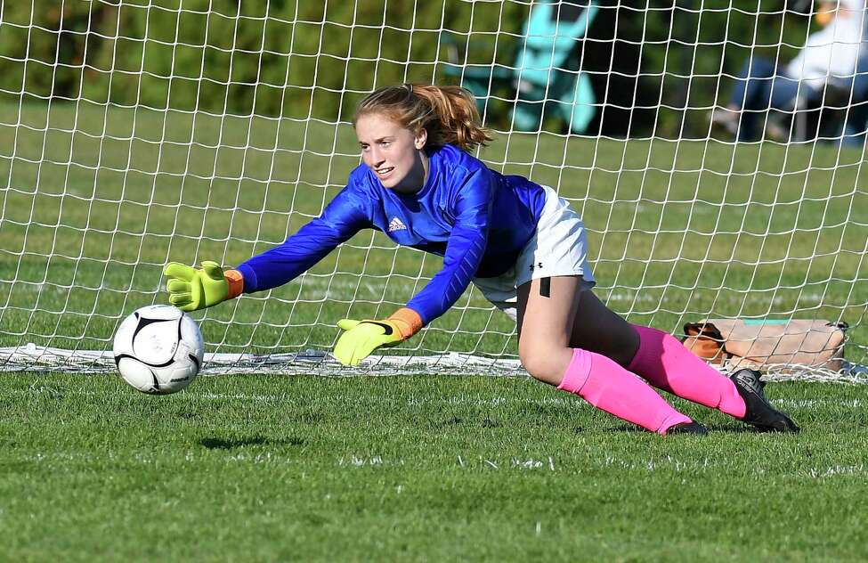 Niskayuna goalkeeper Emma Anderson (0) makes a save against Bethlehem during a girls' Section II high school soccer game in Niskayuna, N.Y., Thursday, Oct. 10, 2019. (Hans Pennink / Special to the Times Union)