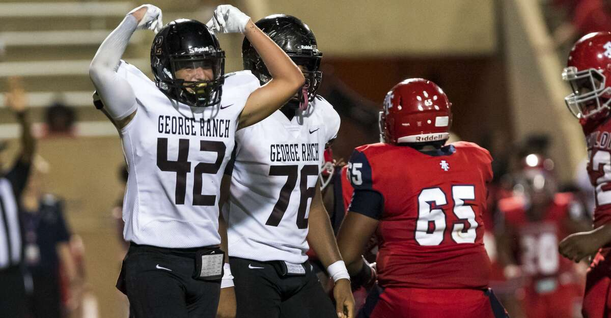 George Ranch linebacker Caleb Arredondo (42) after sacking Alief Taylor quarter back Esteban Torres in the second half of a high school football game Thursday, Oct 10, 2019, in Houston.