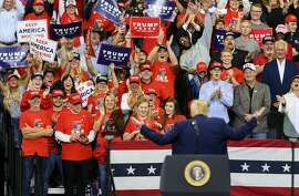 MINNEAPOLIS, MN - OCTOBER 10: U.S. President Donald Trump gestures to the crowd while on stage during a campaign rally at the Target Center on October 10, 2019 in Minneapolis, Minnesota. The rally follows a week of a contentious back and forth between President Trump and Minneapolis Mayor Jacob Frey. (Photo by Stephen Maturen/Getty Images)
