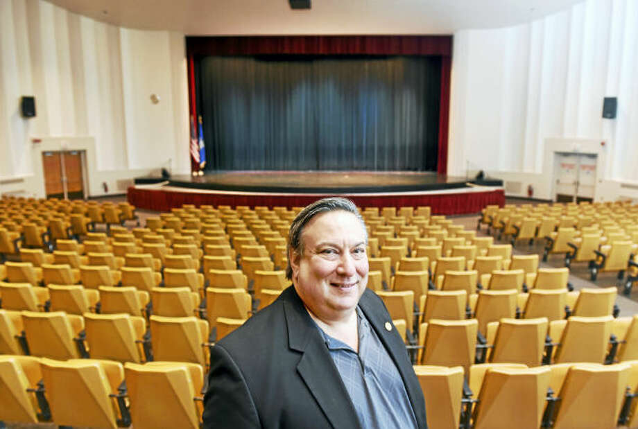 Steve Cooper, executive director of the Milford Performance Center, is photographed inside the Veterans Memorial Auditorium in Milford.