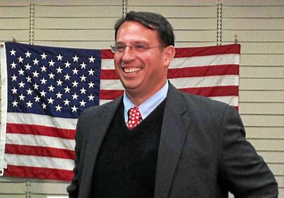 (Pam McLoughlin - New Haven Register) Milford Mayor Ben Blake wins re-election.