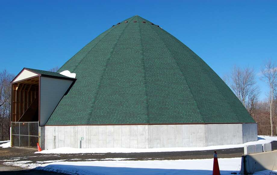 Newly constructed salt shed behind town garage on Amity Road