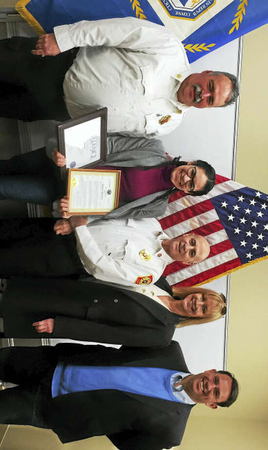 From left, Milford Assistant Fire Chief Gary R. Baker, Rose Colon, Fire Chief Douglas A. Edo, HR generalist Lauren Pisacane and Mayor Benjamin G. Blake.