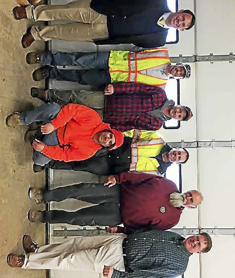 In front, Anthony Turner; in back from left, Mayor Benjamin G. Blake, Tom McCarthy, Glenn Conlan, Highway/Parks Foreman Rich Tomasco, and Director of Public Works Chris Saley.