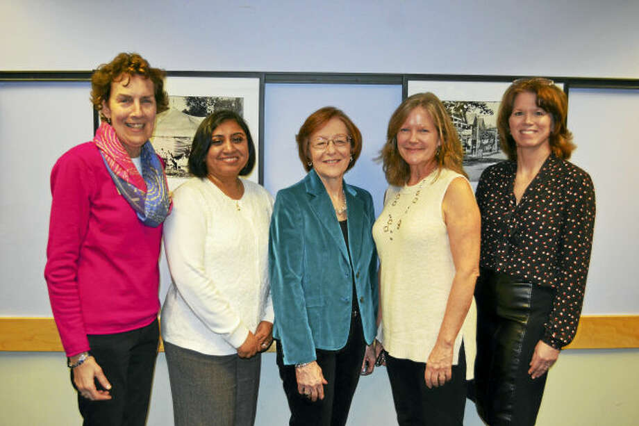 Christine Angeli, director of the Milford Library, right, recently posed with the Friends of the Milford Library's officers, from left, Amy Bringardner, vice president membership; Karuna Kasbawala, assistant treasurer; Cathy Goldbach, treasurer; and Anne Bolin, president