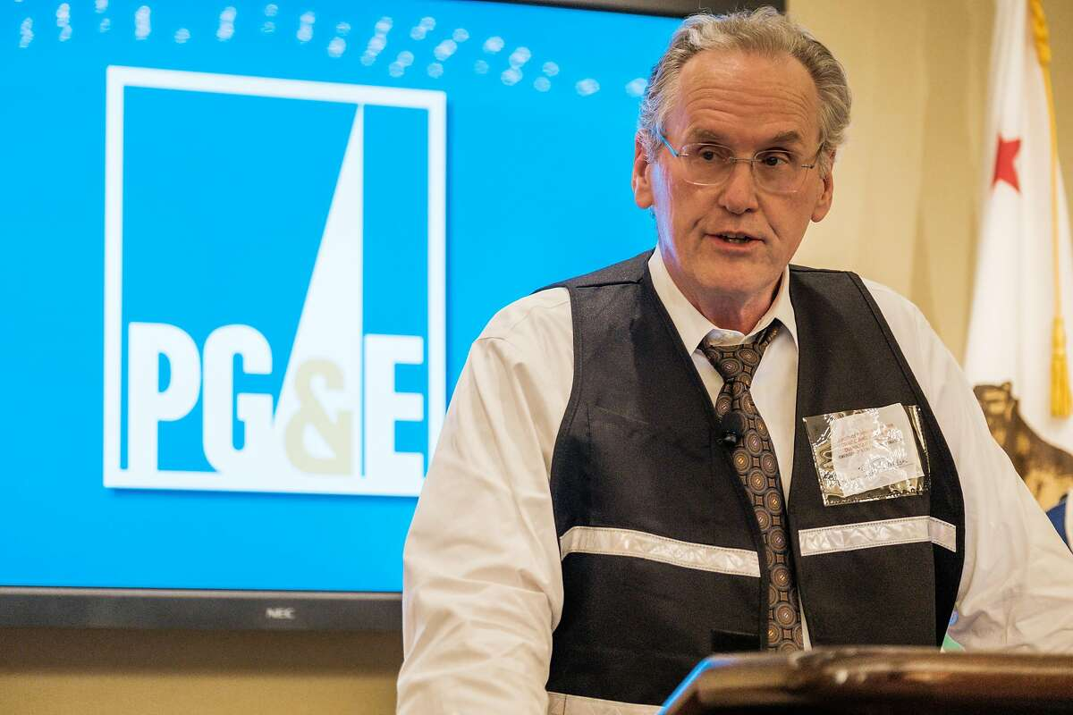 Bill Johnson, CEO of PG&E Corporation, addresses members of the media in San Francisco, Calif. on Thursday, October 10, 2019 regarding the planned power outages which left hundreds of thousands of residents without power.
