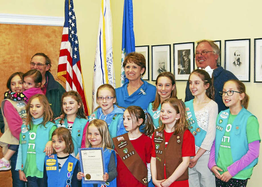 Bethany Girl Scouts, with First Selectman Derrylyn Gorski and Selectmen Clark Hurlburt, left, and Don Shea.