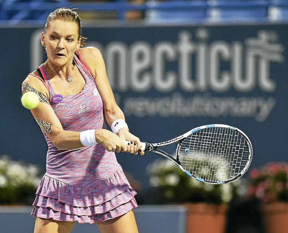 Poland's Aga Radwanska defeated two-time defending champion from the Czech Republic, Petra Kvitova, 6-1, 6-1 in a semifinal match, Friday night, August 26, 2016, at the Connecticut Open at Yale University in New Haven. (Catherine Avalone/New Haven Register)