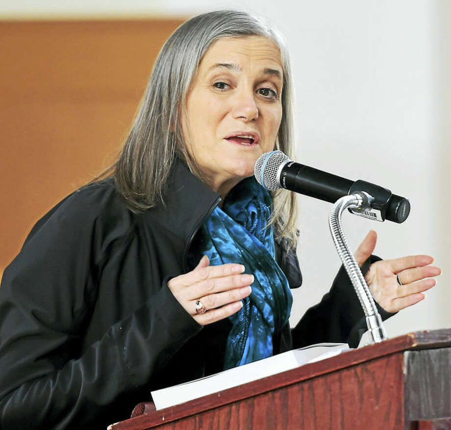 Journalist Amy Goodman speaks Mondayat Wesleyan University in Middletown.