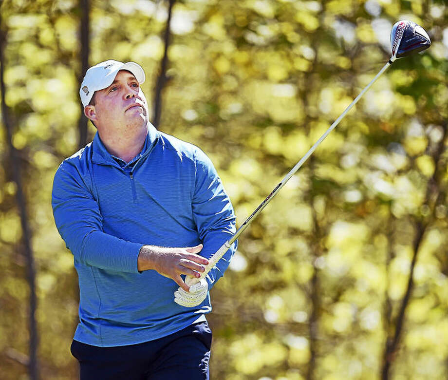 Orange Hills Country Club's Steve Gettings drives off the tee at the Julius Boros Challenge Cup Golf Tournament at the New Haven Country Club in Hamden. Gettings, who played at both Notre Dame-West Haven and Stonehill College, was playing in the Challenge Cup for the first time.