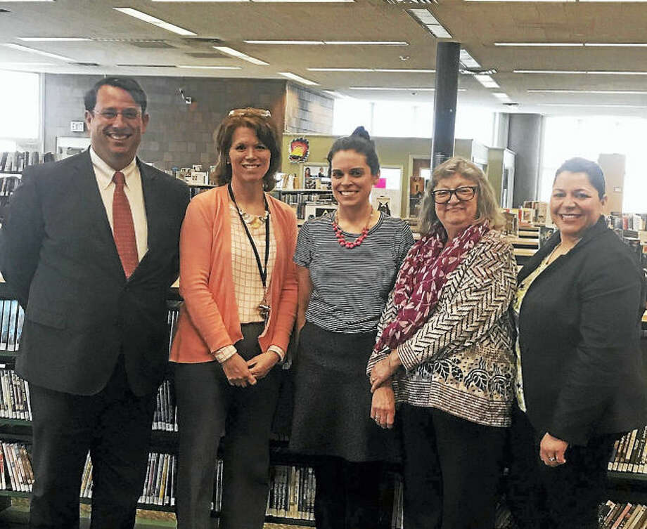 From left, Mayor Benjamin G. Blake, Library Director Christine Angeli, Nicole Greco, Assistant Library Director Nancy Abbey and HR Director Tania Barnes.