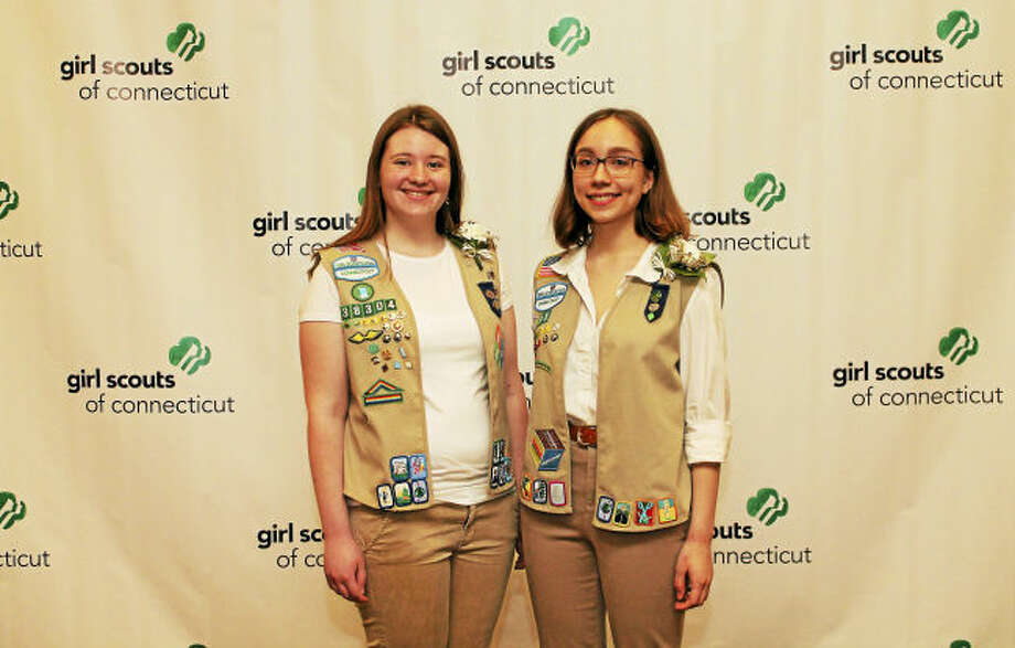 Girl Scouts Meghan Warren of Milford and Clare Staib-Kaufman of Orange.