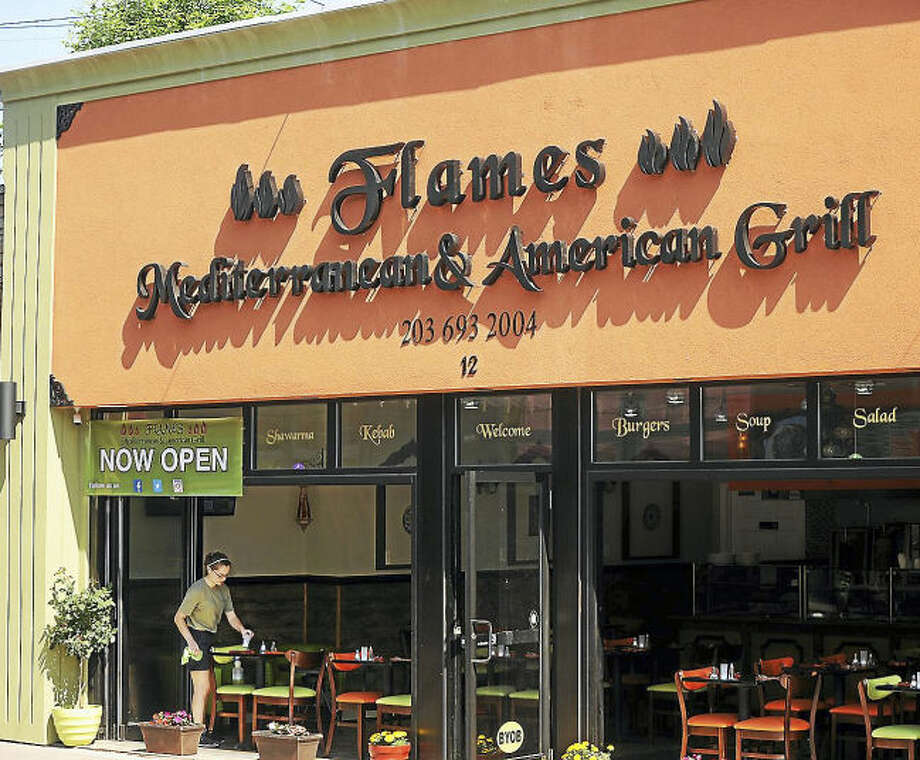 The new restaurant, Flames Mediterranean & American Grill, at 12 Daniel St. in Milford, on June 13.