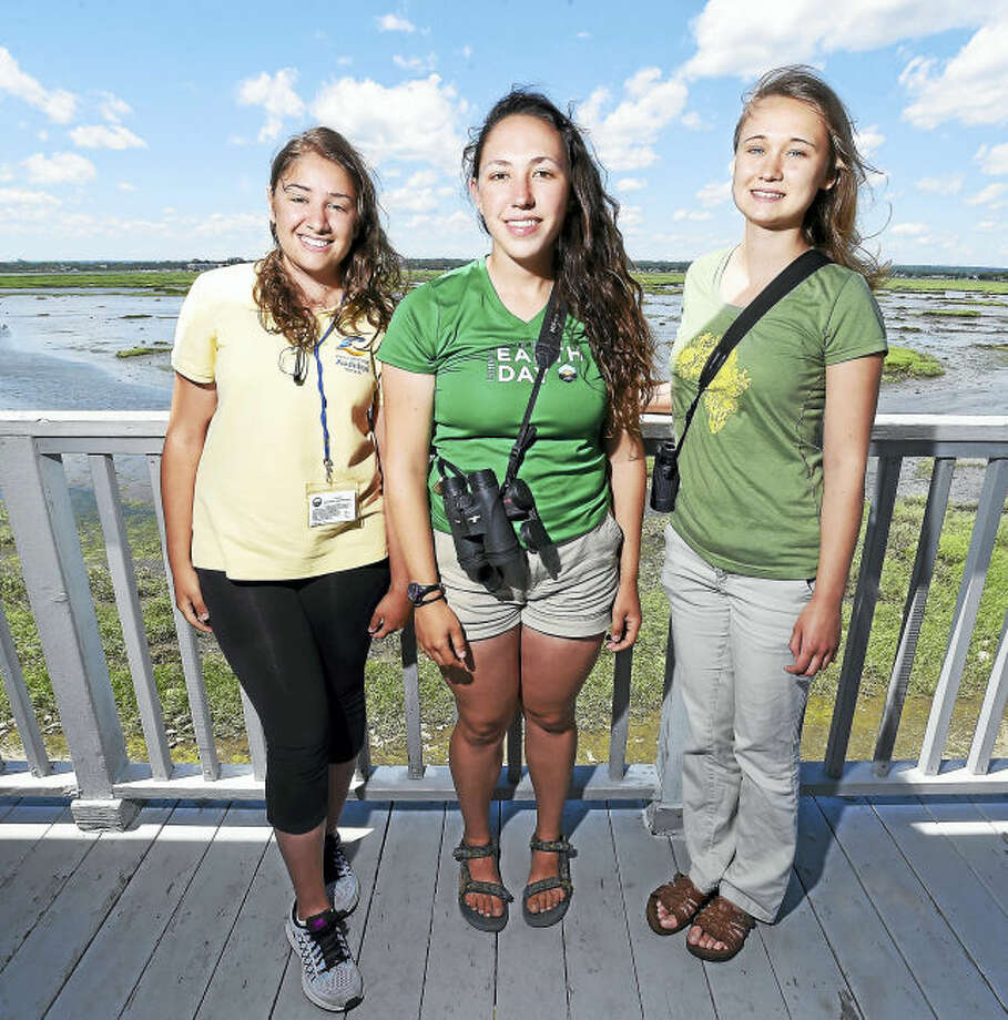 From left, Melina Giantomidis, IBA coastal ranger; Helena Ives, field technician for the Audubon Alliance for Coastal Waterbirds; and Genevieve Nuttall, Osprey Nation coordinator, are photographed at the Connecticut Audubon Society Coastal Center at Milford Point in Milford.