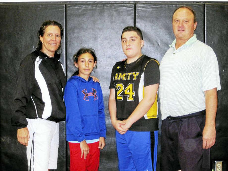 From left, PE teacher Geri-Lyn Dubay, Juliette Zito, Blake Ahern and PE teacher Tom Elwell.