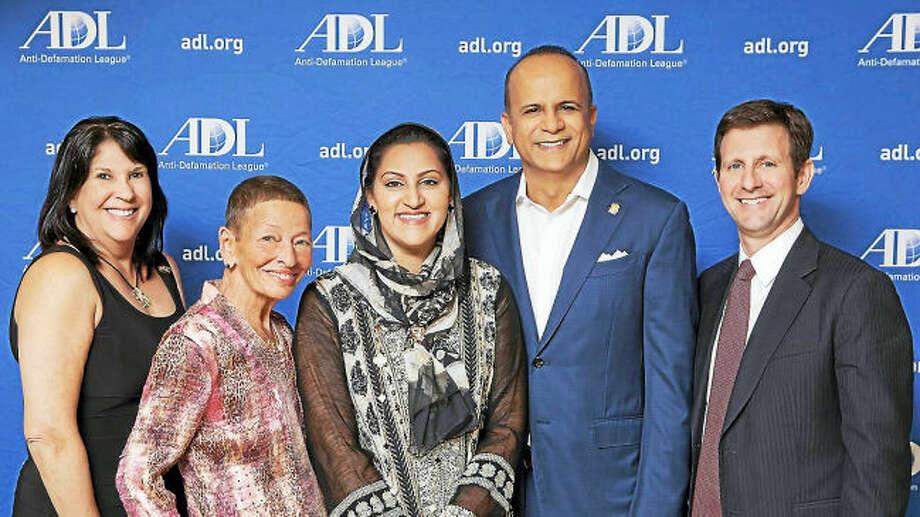 From left, ADL regional board Chairwoman Robyn Teplitzky, Lindy Lee Gold, Asma Farid, Tariq Farid and ADL Connecticut Director Steve Ginsburg.