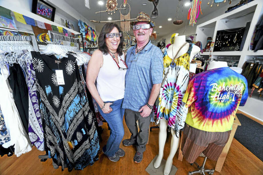 Gloria Krouch and her husband, Richard, are photographed in their new store, Bohemian High, at 156 Bridgeport Ave., in the Devon section of Milford, recently.