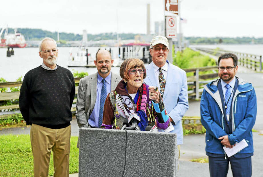 Soundkeeper Bill Lucey, second from left at rear, stands behind U.S. Rep. Rosa DeLauro, D-3, at a press conference to announce $8 million in federal funding for Long Island Sound cleanup. Also shown are, from left, David Sutherland, Nature Conservancy director of government relations; Curt Johnson, executive director of Save the Sound and Connecticut Fund for the Environment; and state Department of Energy and Environmental Protection Commissioner Rob Klee.