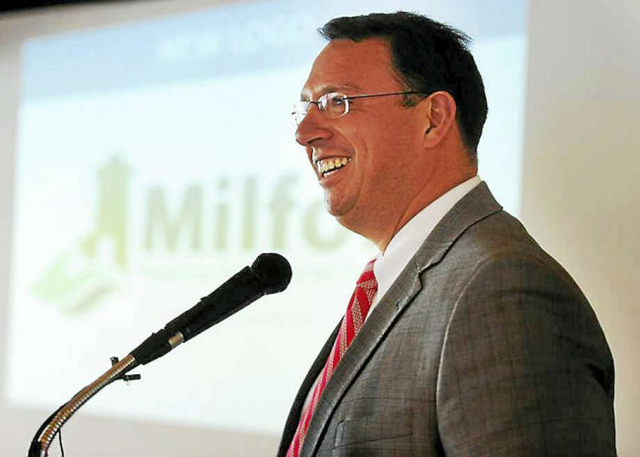 Milford Mayor Ben Blake delivers his annual State of the City address at the Milford Yacht Club in Milford Thursday.