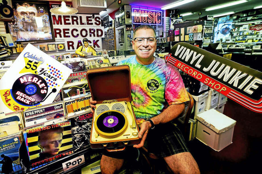 Michael J. Papa, owner of Merle's Record Rack, which has been in business 55 years.