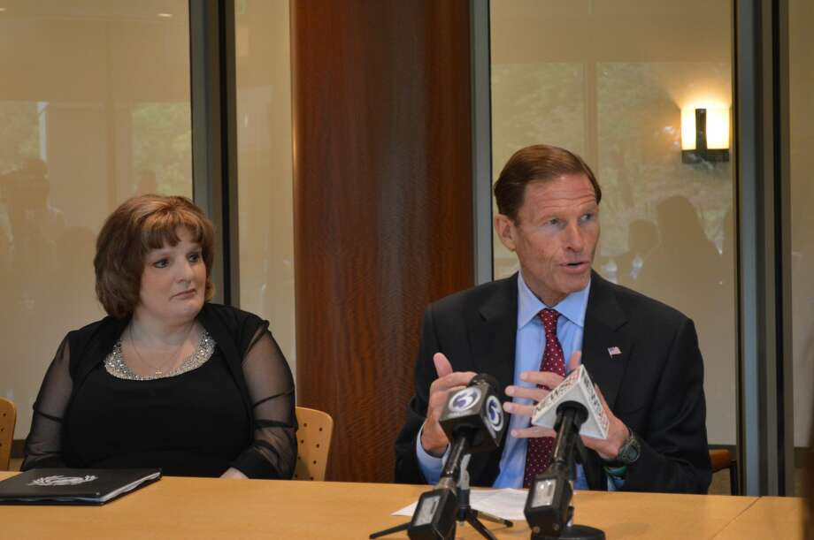 U.S. Sen. Richard Blumenthal, D-Conn. and Theresa Leonard, founder of Operation Underground Railroad and sex trafficking survivor, gathered at Quinnipiac University with students, attorneys, survivors and hotel representatives to discuss efforts to combat sex trafficking.