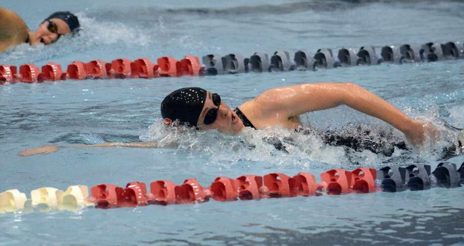 Cheshire's Liz Boyer is on her way to a win in the 500 freestyle to help the Rams win the SCC championship.