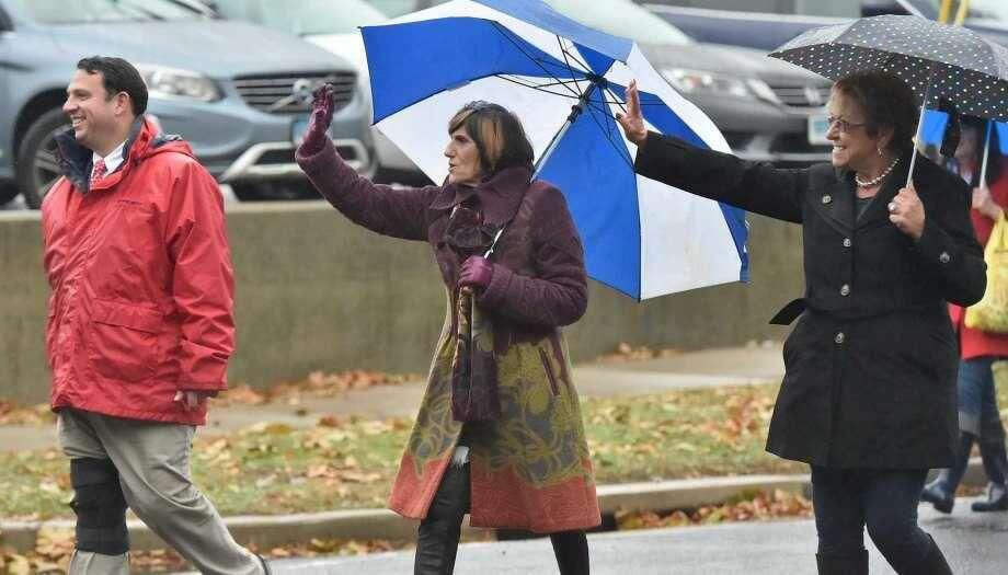 A rainy Milford Veterans Day Parade.