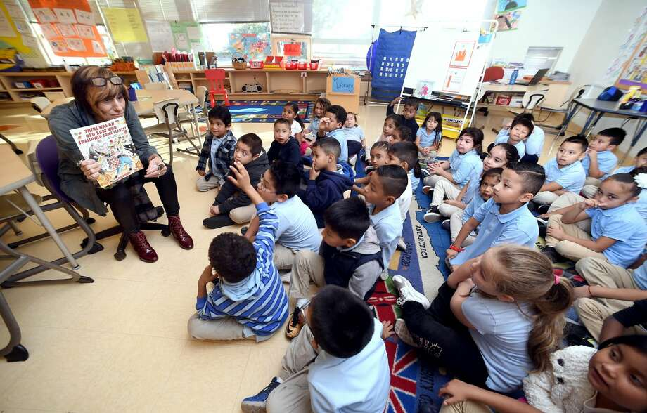 U.S. Rep. Rosa DeLauro reads to first graders at John S. Martinez School to kick off Rosa's Readers program encouraging students to read 20 books in the next five months on 10/31/2017.