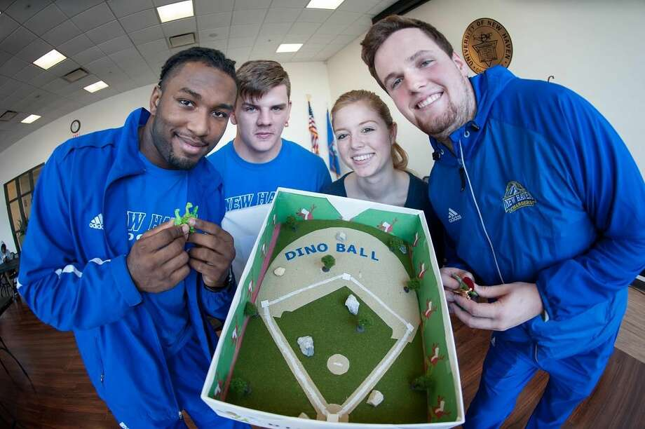 From Left to Right: Dino Ball was the winning game for children on the autism spectrum created by University of New Haven students pictured. They are, from left to right: Benjamin Morgan; Wes Helm; Alle Mix; and John Tyrrell. Photo provided by University of New Haven.