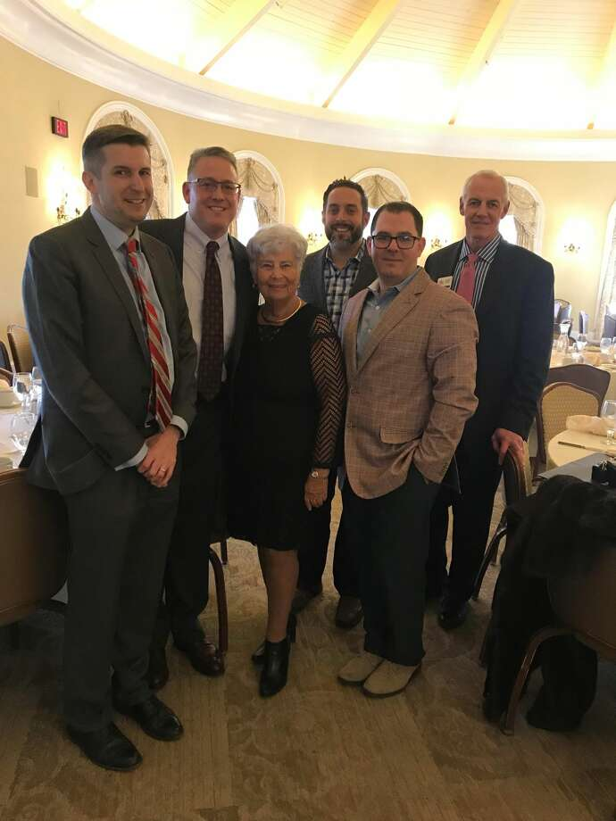 Recipient James Maroney, Chamber Chairman Dewey Forbes, recipient Diana Nytko, co-recipients Frank Basille and Robert Cyr, and Gary Mullin, Chamber Executive Director, celebrate at the Awards of Distinction event.