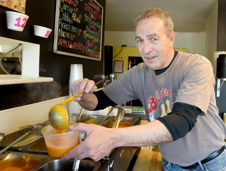 Gary Caulfield, co-owner of Bobettes Bistro in Milford that specializes in soups and donates a portion of their proceeds from their butternut squash spout to the Beth El Center in Milford.