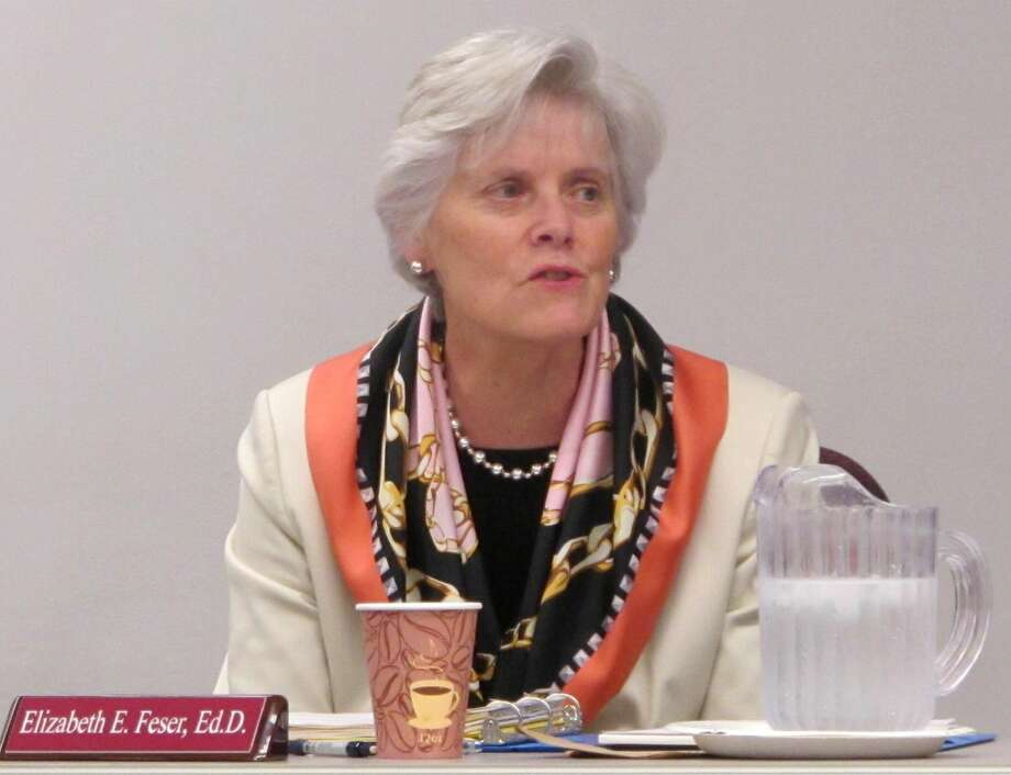 Milford Superintendent of Schools Elizabeth Feser at a Board of Education meeting in 2015.
