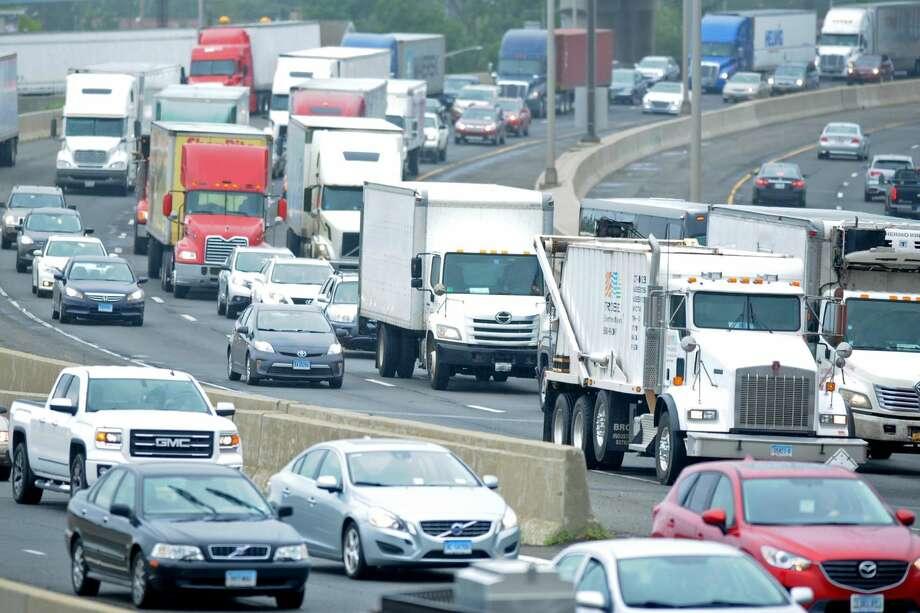 Heavy traffic travels northbound on Interstate 95, I-95, in Bridgeport last summer.