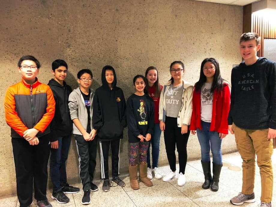 From left, Henry Yang, Piyush Bahel, Allen Liu, Luhai Tang, Anushka Acharya, Zoe Fleischman, Rebecca Huang, Ming Zha, and Adam Florkiewicz.
