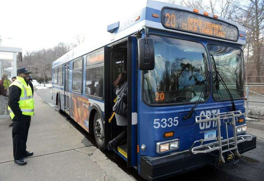 A Greater Bridgeport Transit District bus on its route.