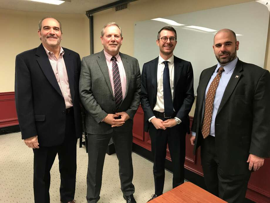 From left, Glenn Beck, CPA; John Kurhnle, Financial Advisor; Noel Langerman, attorney and Lorenzo Gaudioso, financial advisor at the forum.